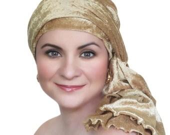Gold Velvet Turban, Head Wrap, Chemo Hat, Alopecia Scarf, Hat & Scarf Set 505-07