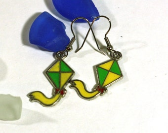 Green and Yellow Kite Enamel Charm Earrings