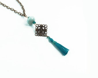 Bright Tiny Turquoise Tassel and Filigree Necklace, Bohemian Jewelry, Beaded Necklace, Adjustable Length Boho Necklace
