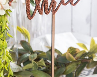 Rose Gold Glitter Table Number Signs for Wedding & Party Decor, Standing Tall Word on Stick and Stand Painted Wooden Custom (Item - LNS150)