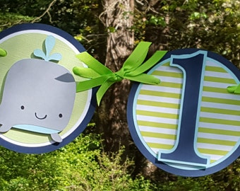 Silly Whale Birthday Highchair Banner in Navy Blue and Green