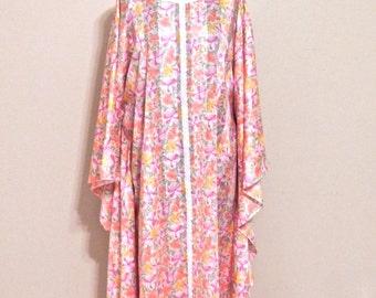 SALE vintage floral caftan dress - 1960s pink floral muumuu maxi dress