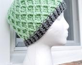 Crochet Lattice Hat - Light Green and Grey