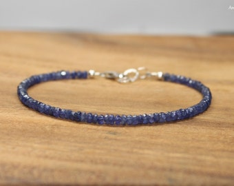 Blue Sapphire Bracelet, Sapphire Jewelry, September Birthstone, Something Blue, Gemstone Bracelet