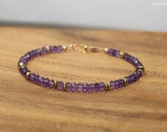 Amethyst Bracelet, Amethyst Jewelry, Brass, Beaded, Layering, February Birthstone, Gemstone Jewelry