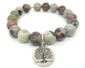 Wrist Mala Bracelet, Porcelain Jasper with Tree of Life - Wellbeing,Spiritual, Meditation Bracelet