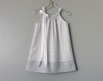 Girls Grey and White Pillowcase Dress - Grey Circles on White - Little Girls Grey Sun Dress - Size 12m, 18m, 2T, 3T, 4T, 5, 6, 8 or 10