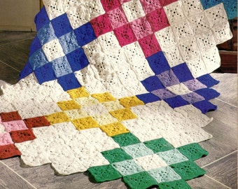 vintage crochet pattern small shell granny square motif afghan patchwork blanket printable pdf download