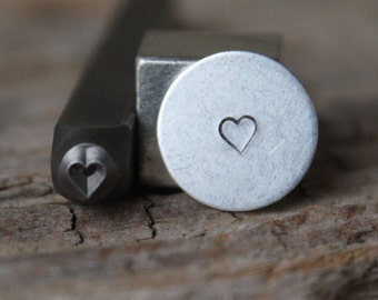 Heart Metal Stamp-3mm Size-Steel Stamp-New Metal Design Stamps-by Metal Supply Chick-DCH49