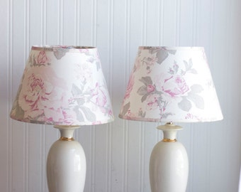 Vintage Bedroom Lamps, Shabby Chic Ivory Gold Table Lamps with Pink Roses Shades, French Country Decor, Girls Bedroom Lamp, Pink and Gray