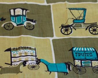 Vintage Tea Towel, 1950s Tea Towel, Avocado Green, Vintage Kitchen, Horses Carriage, Turquoise Blue Classic Car, Kitchen Towel, Retro Towel,
