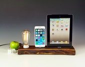 Natural solid Walnut Dual docking station, stand and charger with bare bulb Edison lamp for any iPhone and iPad .. 768.