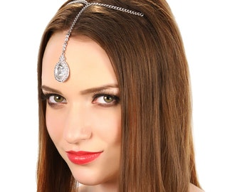 Crystal Tikka Headpiece /  Tikka Headpiece / Bridal Tikka Headpiece / Kristin Perry