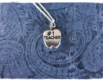 Silver #1 Teacher Necklace - Sterling Silver Teacher Charm on a Delicate Sterling Silver Cable Chain or Charm Only