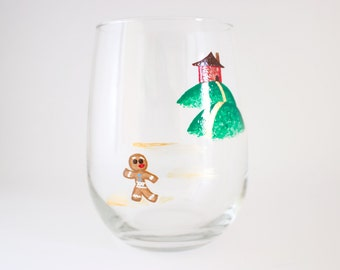 Gingerbread Man - Hand Painted Wine Glass
