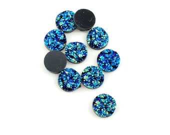 50pcs Dark Blue Resin Druzy Cabochon - Wholesale Cabochon 12mm - Sparkling Green Blue Gemstone Round Druzy Drusy Drusie Faux Geode Druzy A43