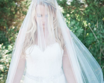 Wedding Veil - Cathedral Drop Two-Tier Mantilla with Narrow French Alencon Lace - made to order