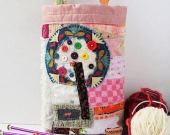 SALE Patchwork Storage basket nursery bin Boho shabby Upcycled fabric Art textile rustic primitive eco home decor hanging Tree of life