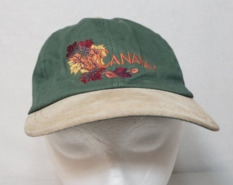 Green and Tan CANADA Vintage Adjustable Cap Embroidered Hat Leaves Fall Autumn Suede eh