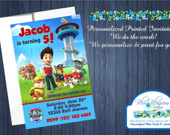 20pcs Custom Personalized Paw Patrol Birthday Party Invitations w/Envelopes - 4x6 Cards - We Print