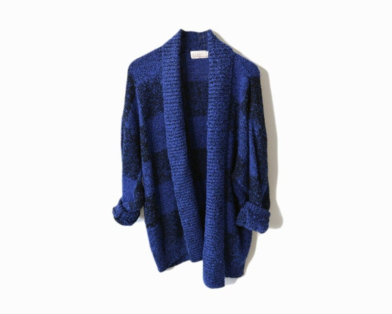 Vintage 90s Boucle Sweater in Blue Checkerboard Plaid - women's XL