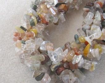 "Quartz Multi Gemstone Chip Beads, Jewelry Supplies, Semi Precious, Gemstone Beads, Bead Supplies, Jewelry Making, Craft Supplies, 15"" Strand"