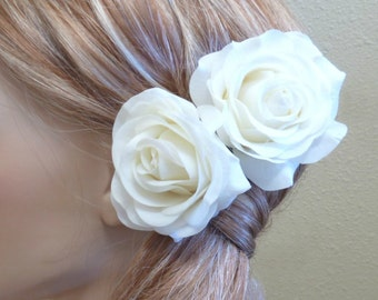 2 Cream White Rose Hair Clip Set. Real Touch Wedding Hair Fascinator Hair Head Piece bridesmaid prom Real Touch Flowers. Tea Rose Collection