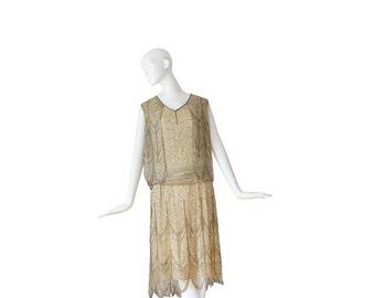 1920s Dress • Flapper 20's Evening Dress • Lace Deco • Wedding • XS S Small