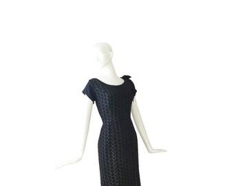 50s Dress • 1950s Black Dress • Cocktail • Party • Large L