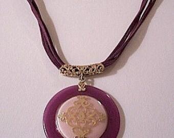 Purple Pink Necklace Silver Tone Vintage Round Pendant Suede Cord