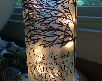Bare trees, tree, Christian, scriptures, lighted wine bottle, wine bottle lamp, lamp, gift for sister, lighted bottles,wine bottle lights