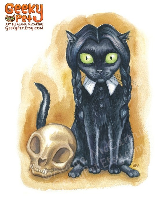 """Wednesday Addams Cat - Watercolor 8x10"""" print"""