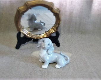 "Vintage Glazed Porcelain 3.25"" Blue and White Puppy / Vintage Made In Japan Porcelain Dog / Vintage Puppy Figurine"