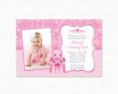 Princess Birthday Party Invitation, Pink, White, Polka Dots, Damask, Castle, Tiara, Printable, Photo Invitation