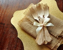 Wooden Forks for Wedding Tablesettings.  Ships in 2-5 Business Days.  Barouque Style Wooden Cutlery.  Eco Friendly Party Utensils.