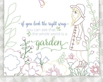 Instant Download- Embroidery Pattern. Secret Garden. If you look the whole world is a garden.  Floral Embroidery. Book Lover Stitchery