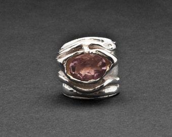 Wide Band Amethyst Sterling Silver Ring, Purple Gemstone Big Ring, Natural Amethyst Statement Ring, Designer Handmade Ring, Amethyst Jewelry