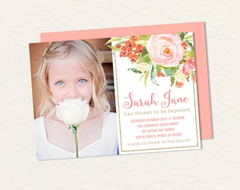 Lds Baptism Invitations Mint And Coral Floral And Gold