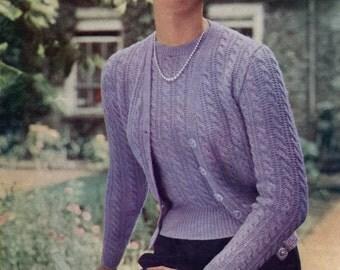 "Great Cable Twin Set 2 Sizes 36"" and 40"" Bust Jaeger 3229 1950s Vintage Knitting Pattern Download"