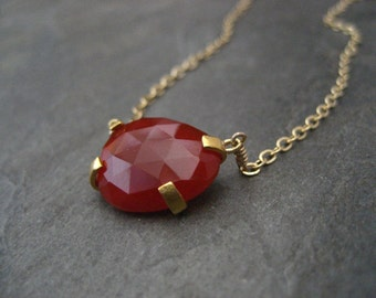 Carnelian necklace,rose cut stone, carnelian pendant, prong set pendant, odd shape stone, genuine carnelian, handmade, pebble shape