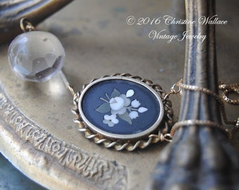 Forget Me Not--Antique Victorian Pietra Dura Mosaic Mourning Brooch Glass Orb Gold Filled Chain NECKLACE