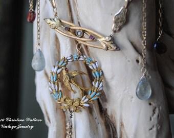 Victorian Enamel Sparrow--Antique Enamel Sparrow Brooch Pendant Gemstone Briollette Vintage Watch Chain NECKLACE