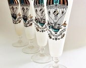Mid Century Glass Barware Vintage Beer Glasses Pilsner Glasses Georges Briard Glasses Turquoise & Gold