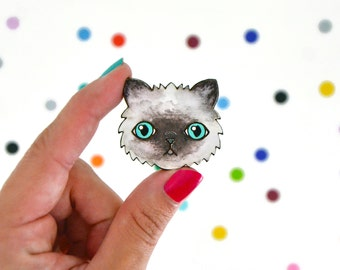 tiny digby / hand painted laser wood cut pin / cat lady cute badge flair