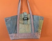 Wendy 1600E  Lavender, Blue and Green Purse, Tote or Knitting Bag, Up Cycled Fabric
