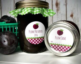 Gingham Plum Jam canning labels, plum jelly mason jar labels, plum preserves jar labels, plum canning jar label, fruit preservation stickers