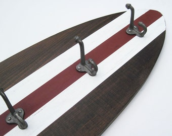 4 ft Surfboard Coat Rack Dark Wood, White and Red Schoolhouse Hooks