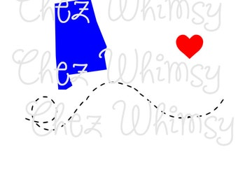 Alabama SVG State Outline Bama svg Dotted Lines SVG Cut File Alabama with Heart SVG for Cricut Cutters Digital Files for Cutting