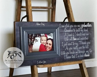 Gift For Godmother, Godmother Thank You, Godmother Frame, Baptism Gift for Godparents, Will You Be My Godmother, 8x20 The Sugared Plums