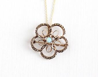 Sale - Antique 10k Rose Gold Opal Pearls Edwardian Starburst Pendant Necklace - Early 1900s Art Nouveau Flower Sun Fine Brooch Pin Jewelry